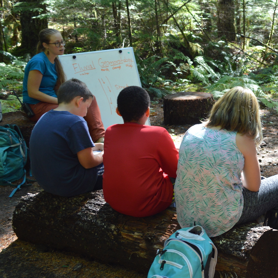 Young people learning outdoors