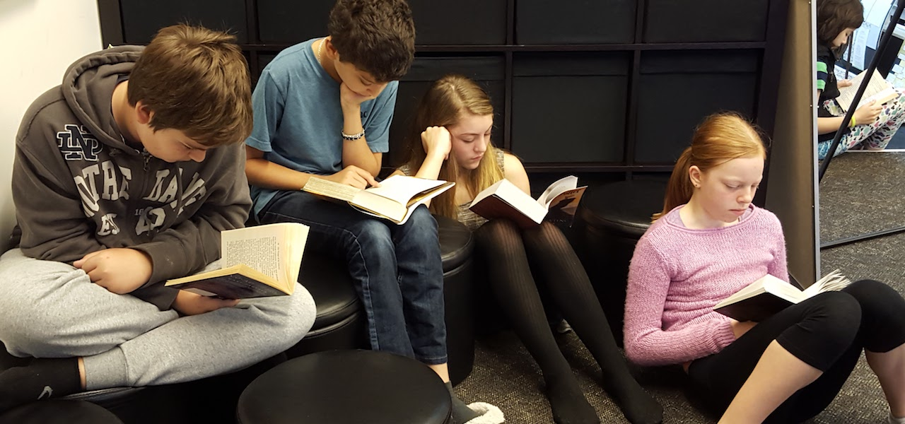 Middle Schoolers Reading Books
